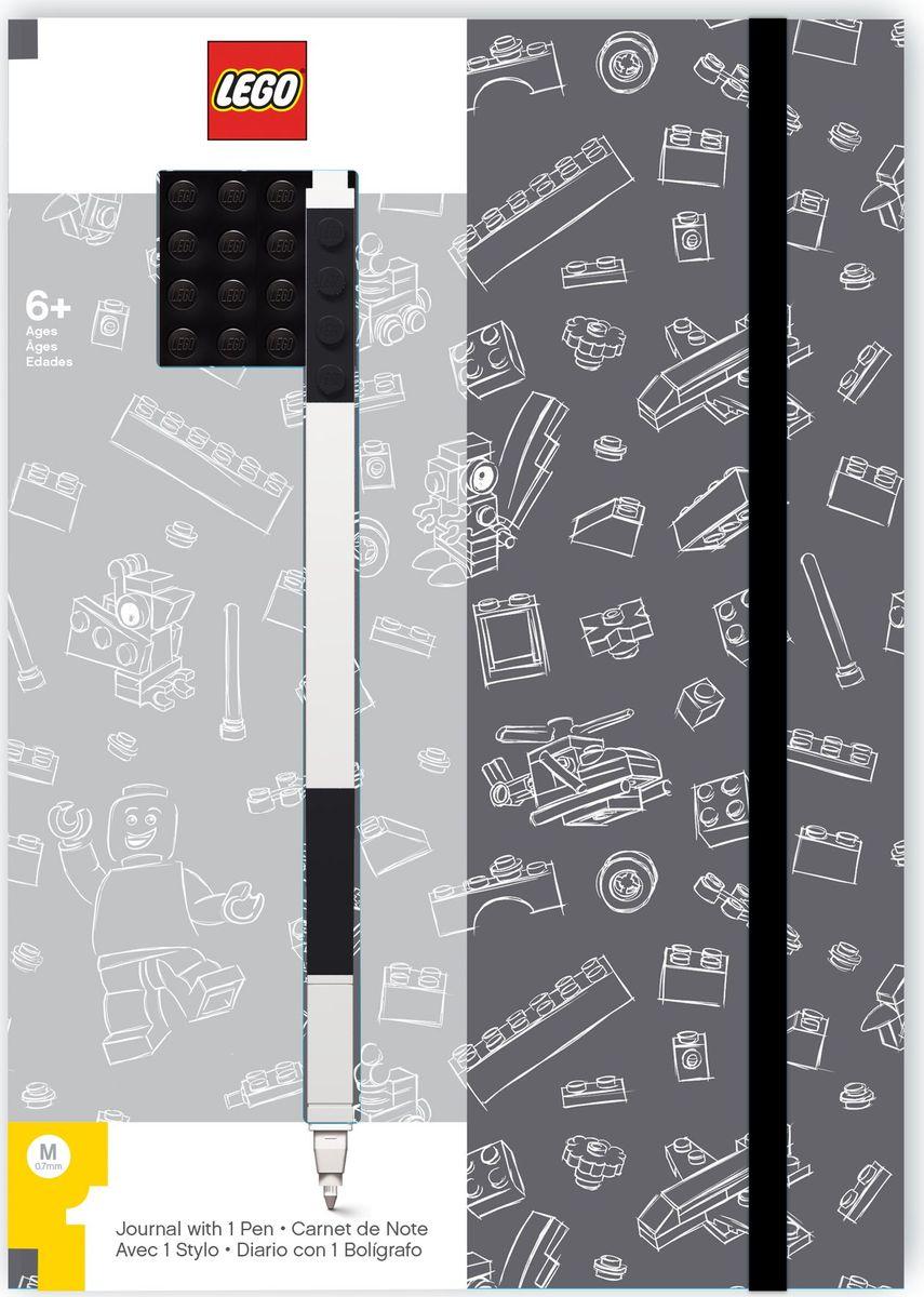 Записная книжка LEGO, 96 листов в линейку, с черной гелевой ручкой, цвет: черный, серый