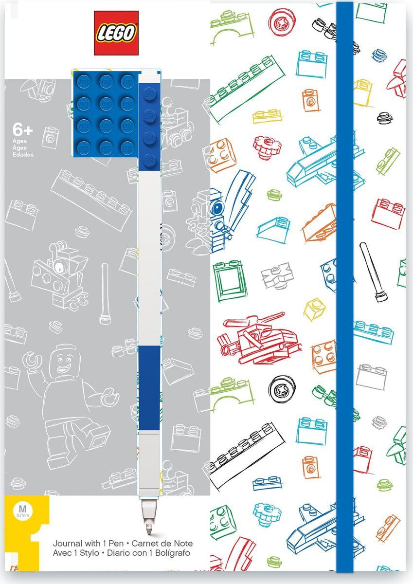 Записная книжка LEGO, 96 листов в линейку, с синей гелевой ручкой, цвет: белый, синий