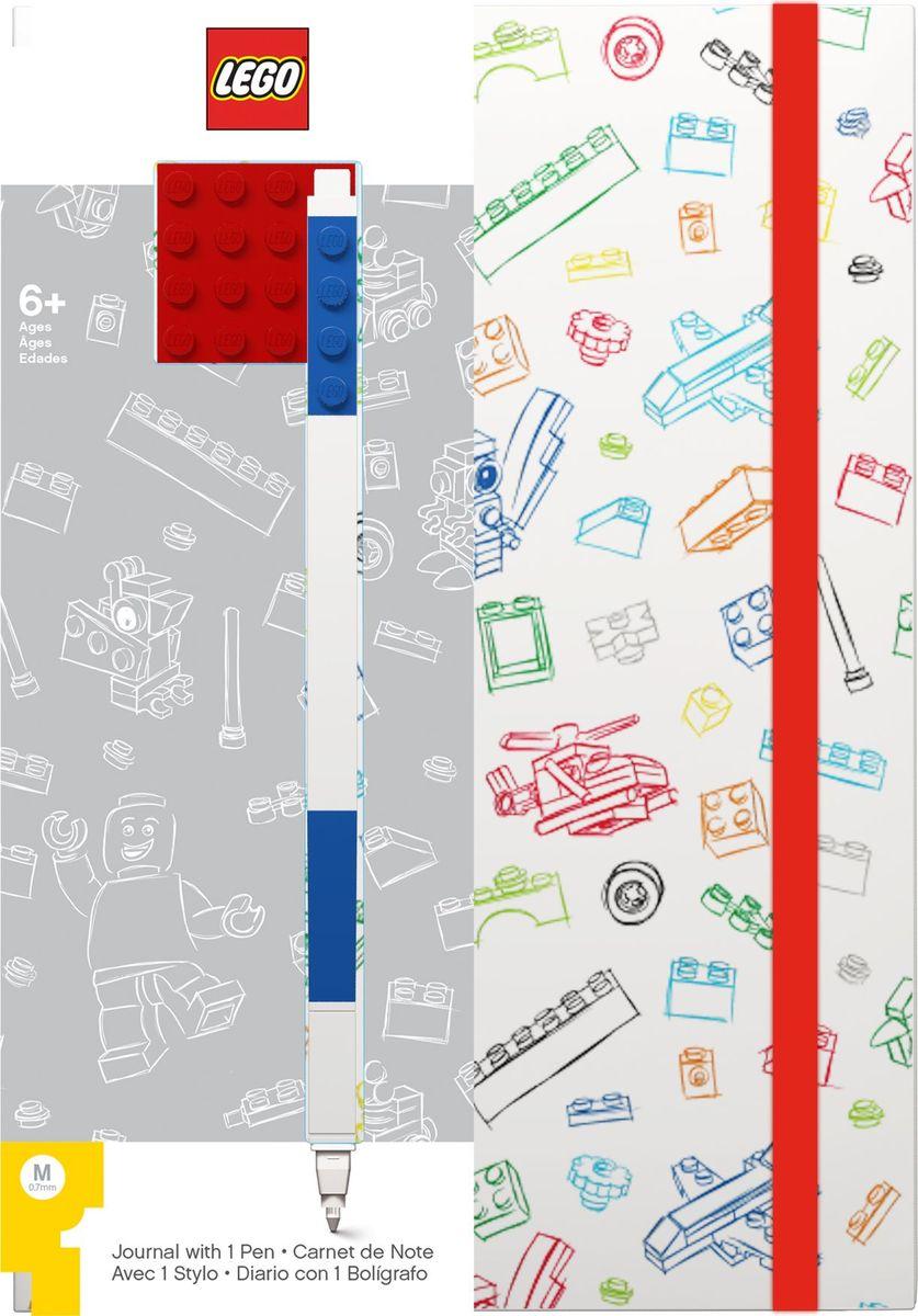 Записная книжка LEGO, 96 листов в линейку, с синей гелевой ручкой, цвет: белый, красный