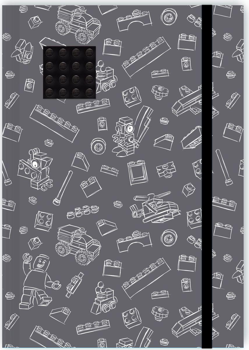 Записная книжка LEGO, 96 листов в линейку, с резинкой, цвет: серый, черный