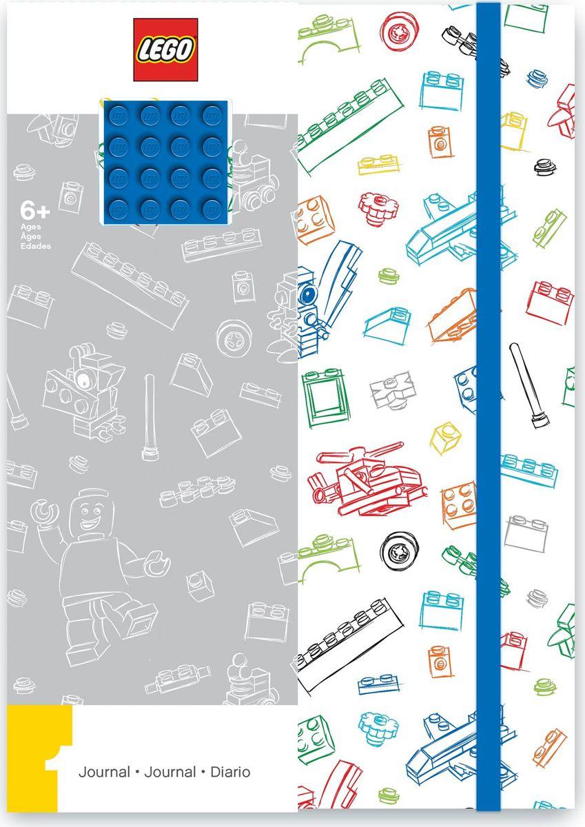 Записная книжка LEGO, 96 листов в линейку, с резинкой, цвет: белый, синий