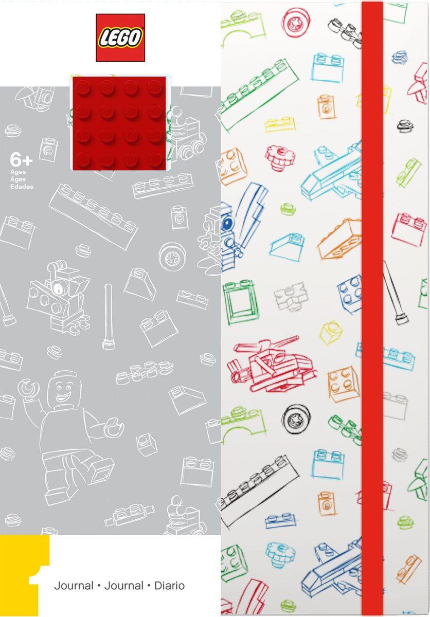 Записная книжка LEGO, 96 листов в линейку, с резинкой, цвет: белый, красный