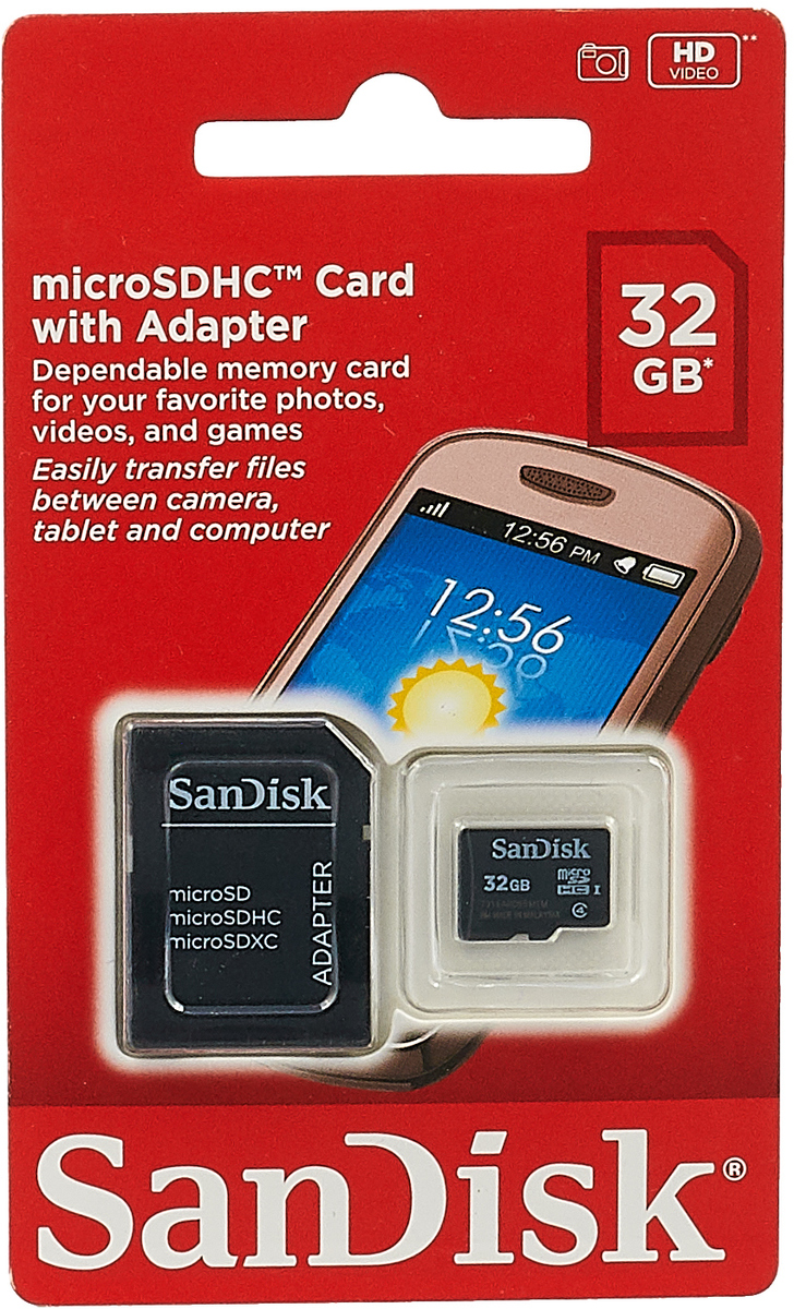 SanDisk microSDHC Class 4 32GB карта памяти с адаптером