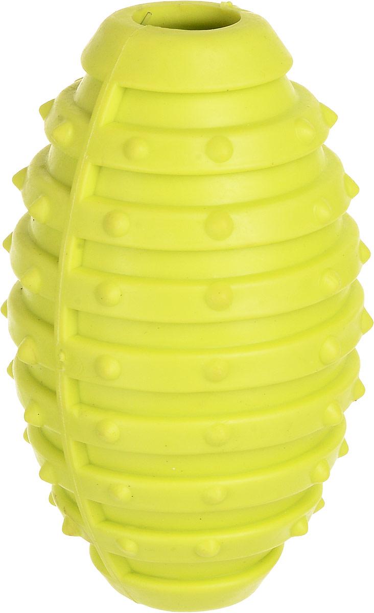 Игрушка для собак Уют Мяч для регби, цвет: салатовый, 10 см игрушка для собак уют звездочка с шипами цвет салатовый 7 см
