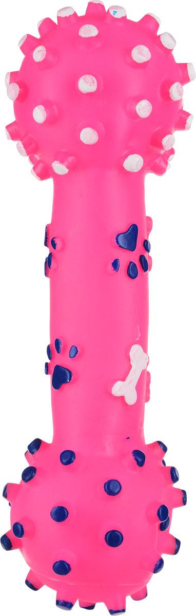 Игрушка для собак Уют Гантель большая, цвет: розовый, 26 см игрушка для собак fat cat кот забияка цвет синий розовый