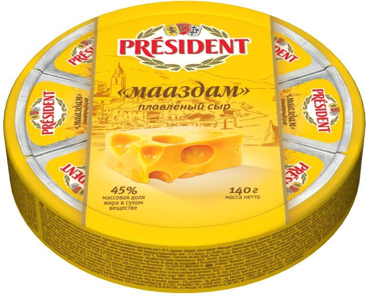 President Сыр Мааздам, плавленый 45%, 140 г president сыр с пряными травами плавленый 45% 200 г