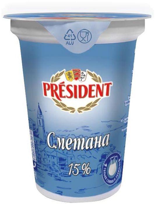President Сметана 15%, 350 г
