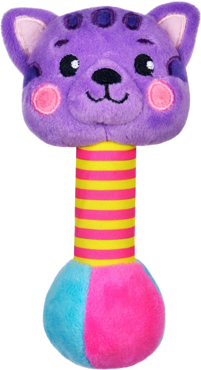 Жирафики Погремушка Котик со звуком939513Этот красочный котёнок станет одной из первых и любимых игрушек малыша. Если потрясти игрушкой в воздухе, она будет забавно пищать. Котик оснащен мягкой и очень приятной на ощупь ручкой - ребенку будет комфортно держать игрушку. Размер изделия: 7х5х15 см. Изготовлено из текстиля. Игрушка рекомендуется для малышей в возрасте 0 мес. +.