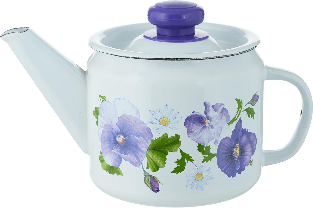 Чайник Лысьвенские эмали Фиалки, 1 л чайник яблоки 1 л