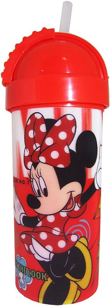 Disney Фляга детская Минни с крышкой и трубочкой 400 мл disney стакан детский тачки 3 с крышкой и трубочкой 400 мл