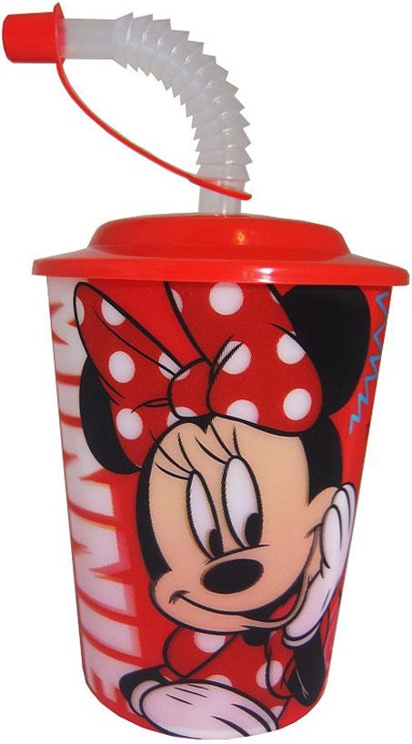Disney Стакан детский Минни с крышкой и трубочкой 400 мл disney стакан детский тачки 3 с крышкой и трубочкой 400 мл