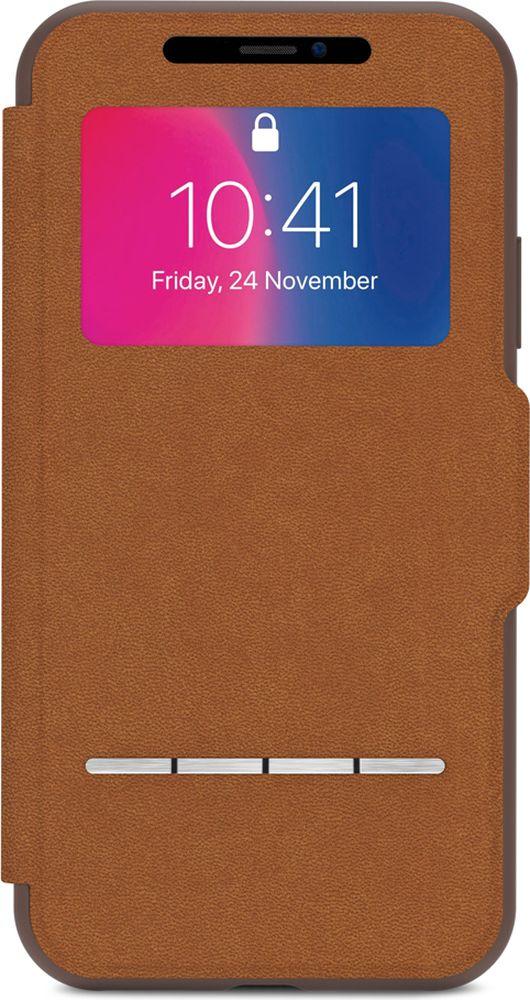 Moshi SenseCover чехол для iPhone X, Caramel Brown аксессуар чехол moshi sensecover для iphone 6 plus graphite 99mo072304