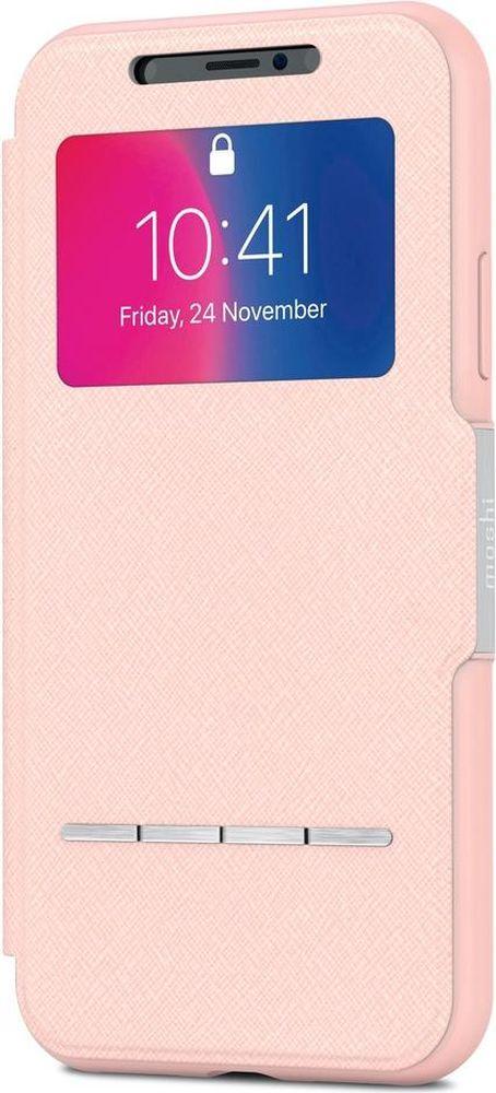 Moshi SenseCover чехол для iPhone X, Luna Pink аксессуар чехол moshi sensecover для iphone 6 plus graphite 99mo072304