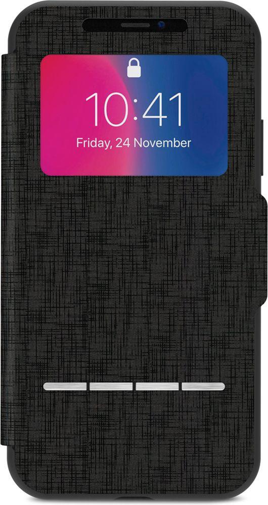 Moshi SenseCover чехол для iPhone X, Metro Black аксессуар чехол moshi sensecover для iphone 6 plus graphite 99mo072304