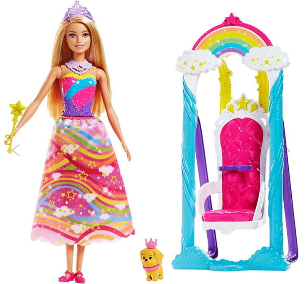 Barbie Игровой набор с куклой Принцесса и радужные качели barbie игровой набор с куклой принцесса и радужные качели