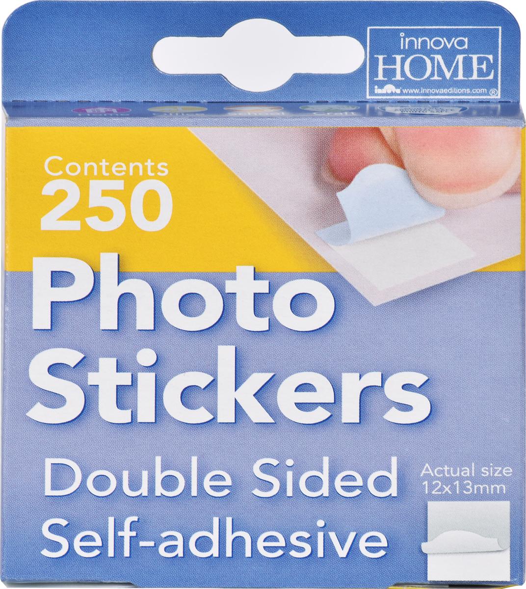Самоклеющиеся фотостикеры Innova Photo Stickers, 250 штQ08481Самоклеящиеся двухсторонние стикеры 12х13мм на 62 фотографий, упаковка 250 штук. Для фотоальбомов, скарпбуков и стендов. Акриловые двухсторонние самоклеящиеся стикеры идеально подходят для крепления фотографий в альбом, скрапбукинга, создания коллажей или оформления стендов. Не содержат кислоты и безопасны для фотографий и страниц альбома. Принцип применения - как двухсторонний скотч, только предварительно порезанный на квадратики размером 12х12мм. Таким образом, они остаются невидимыми с лицевой стороны фотографии, в отличие от уголков. В течении пяти минут фотостикеры можно отклеить и переместить в другую позицию на листе несколько раз, пока не достигнете идеального расположения фотографий. Рекомендуем!