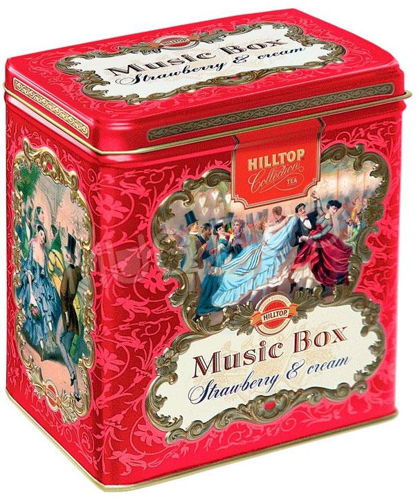Hilltop Земляника со сливками листовой чай в музыкальной шкатулке, 125 г hilltop розы 1001 ночь набор зеленого и черного листового чая в музыкальной шкатулке 125 г