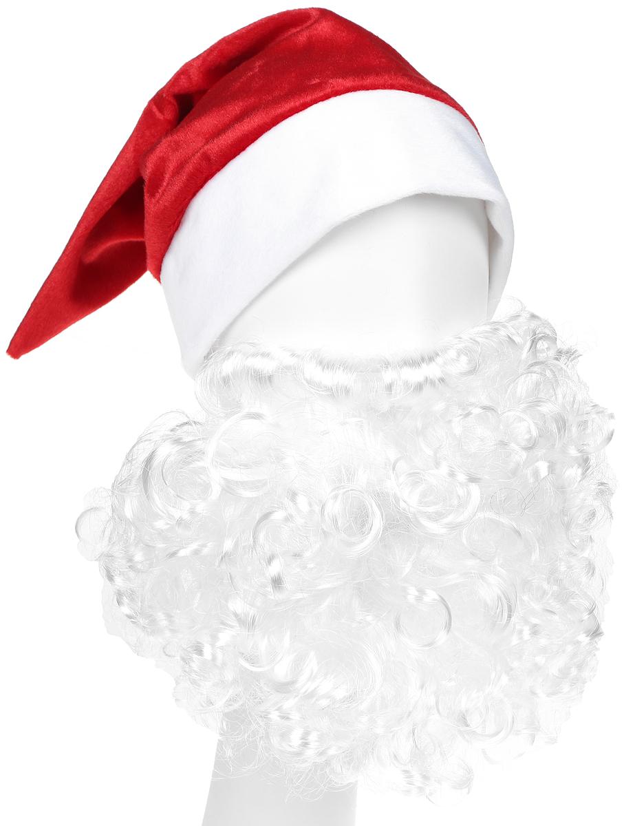Батик Аксессуар карнавальный для мальчика Колпак новогодний с бородой цвет красный размер 52-56 колпак новогодний снежинки 719616