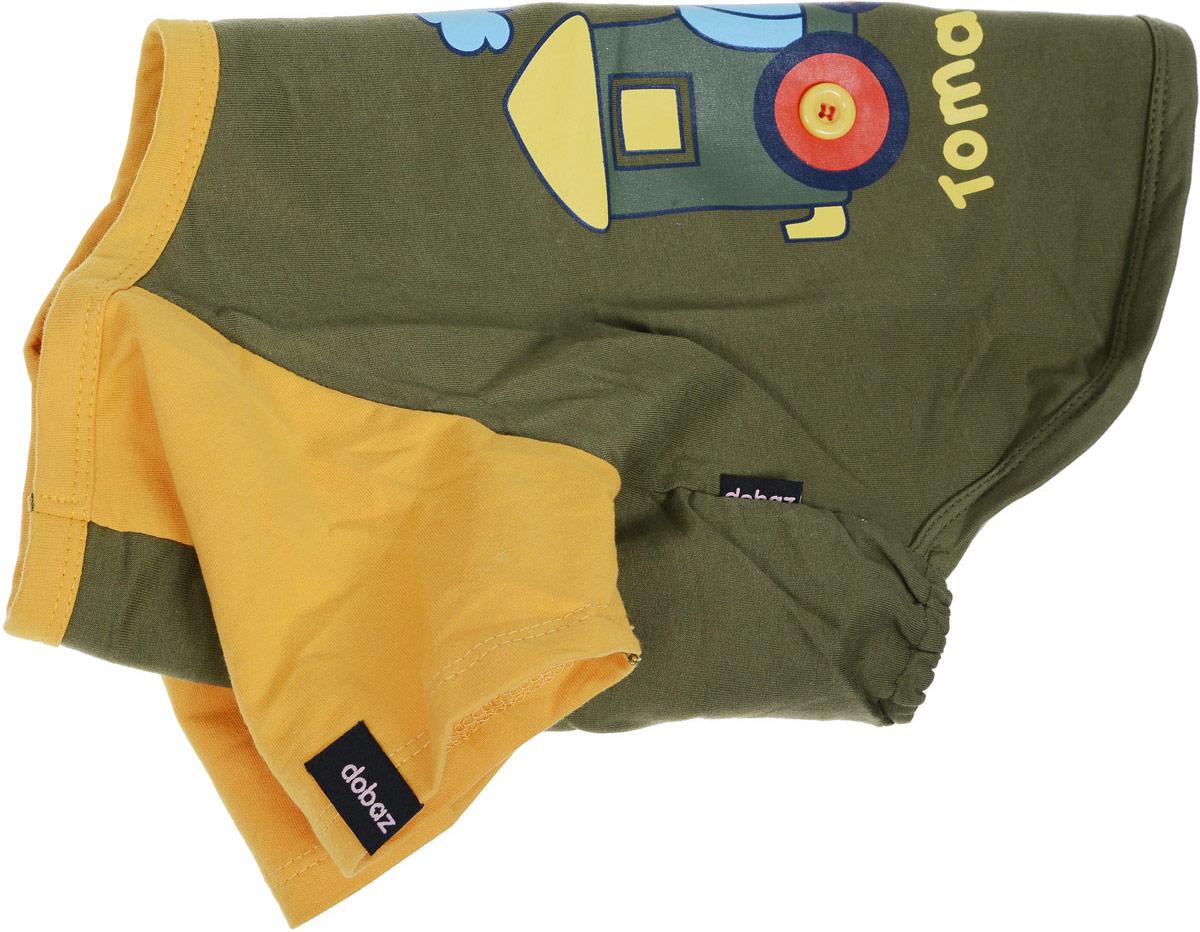 Майка для собак Dobaz Паровозик, унисекс, цвет: темно-зеленый, оранжевый. ДА025БХЛ. Размер XL брюки мужские icepeak цвет темно зеленый 257090572iv размер 52