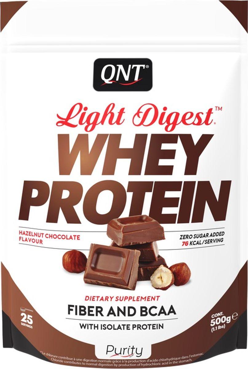 Протеин QNT Light Digest Whey Protein, шоколад, лесной орех, 500 г протеин olimp 100% whey protein complex шоколад 700г