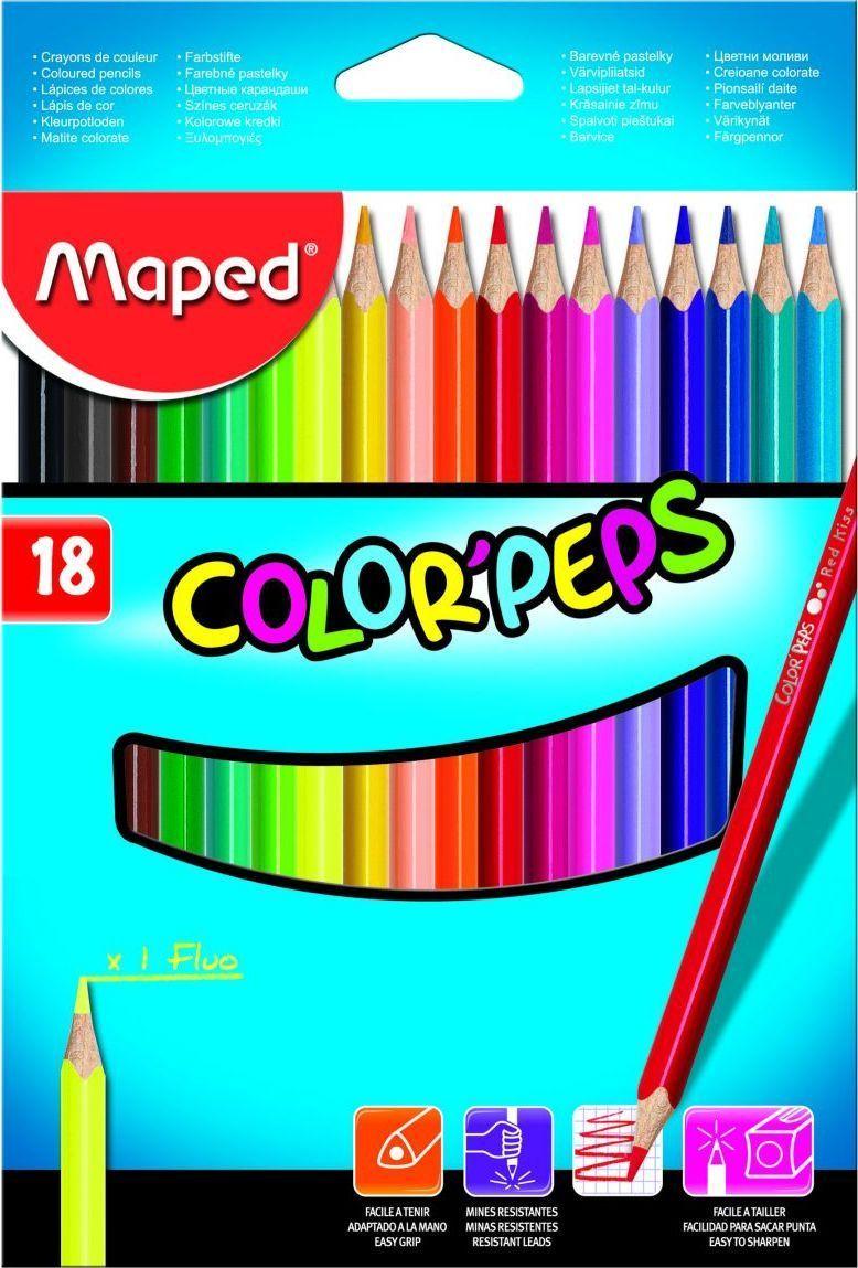 Maped Набор цветных карандашей Color Pep's 18 шт maped карандаши цветные color peps треугольные 12 цветов maped