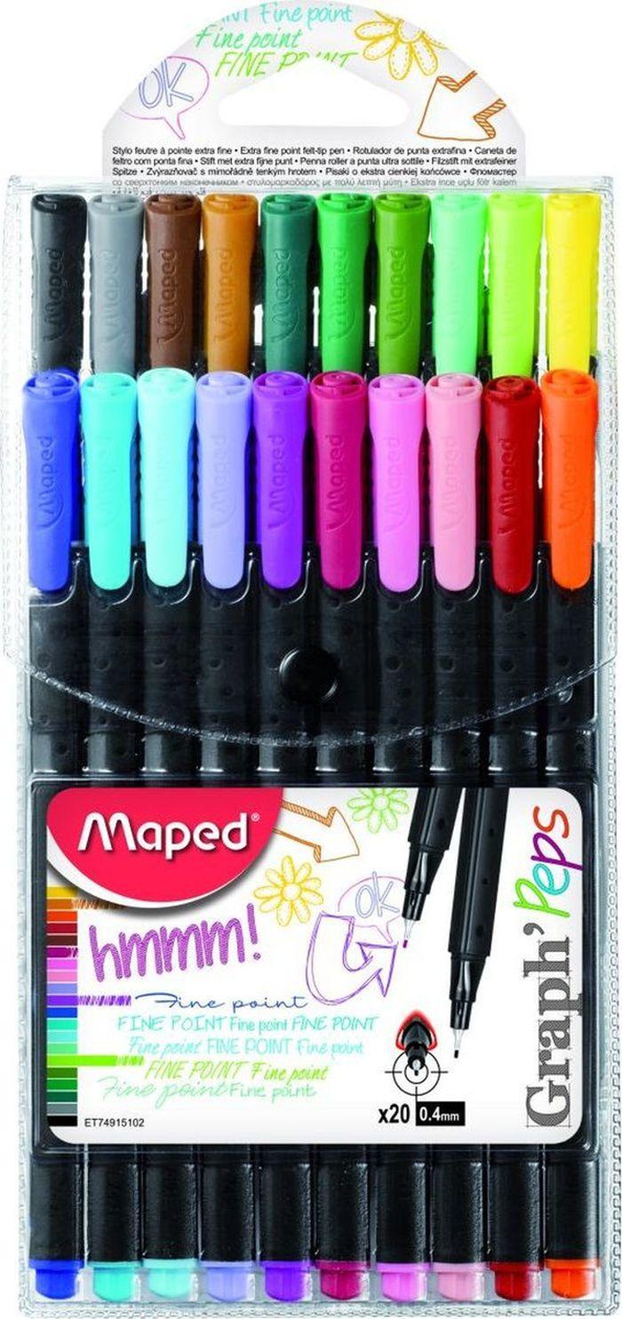 Maped Набор капиллярных ручек Graph Pep's 20 цветов набор капиллярных ручек maped graph pep s цвет чернил черный 12 шт