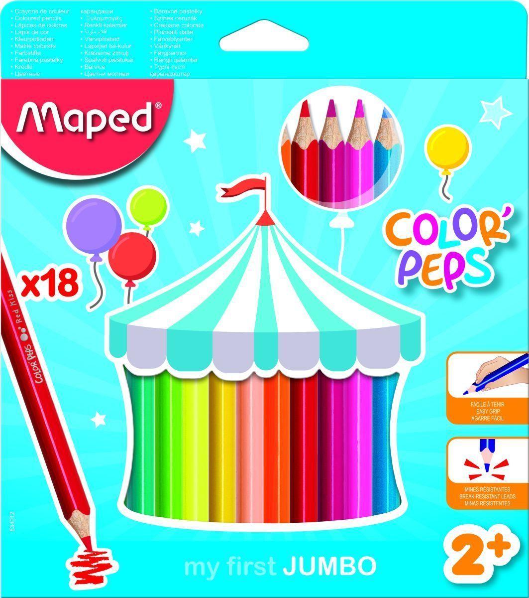 Maped Набор цветных карандашей Color Peps Jumbo 18 цветов834012Карандаши цветные из американской липы серии COLOR PEPS JUMBO. Эргономичная треугольная форма. Ударопрочный грифель. Серия разработана для малышей (2+) - упаковка отличается особой графикой. Карандаши очень яркие, корпус большого диаметра специально для детской руки. Толстый грифель диаметром 4,7 мм. Идеально подходит для рисования, раскрашивания и живописи, абсолютно безопасно для детей. Карандаши легко точатся. Плотное закрашивание - отличный вариант для раскрасок!
