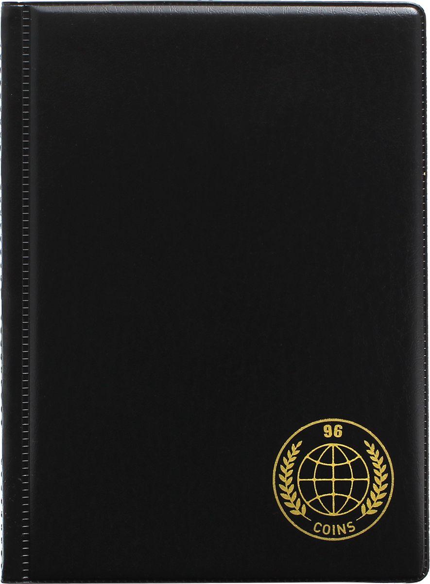 Альбом для монет Miland Prima, 96 монет, 6 листов, цвет: черный, 125 x 175 мм ремень мужской askent цвет черный rm 6 lg размер 125