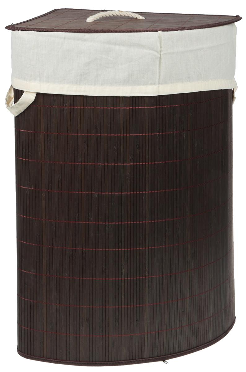 Корзина для белья Attribute Бамбук, угловая, цвет: темно-коричневый, 37 х 58 см корзина для белья tatkraft monako угловая цвет коричневый 35 см х 35 см х 50 см