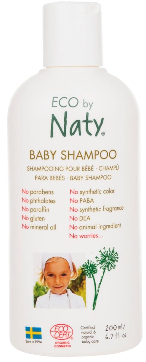 Naty Шампунь для волос детский, 200 мл7330933245579У детей, особенно новорожденных, как правило, очень чувствительные волосы и кожа. Eco by Naty представляет сертифицированный органический ультра-мягкий детский шампунь с pH-нейтральным составом. Деликатно очищает волосы малыша, оставляя их мягкими и чистыми. Секрет заключается в кокосовых маслах и соке листьев алоэ Барбаденсис. Знаете ли вы, что они содержат до 75 различных природных питательных витаминов?