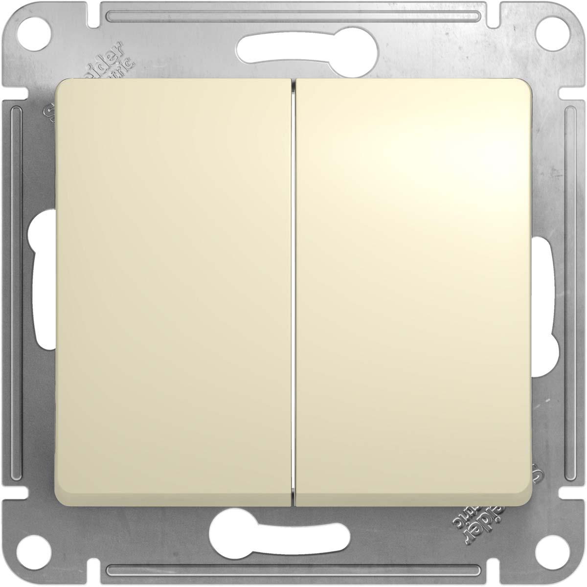 Механизм переключателя Schneider Electric Glossa, двухклавишный, схема 6 10AX, цвет: бежевыйGSL000265Двухклавишный механизм переключателя Schneider Electric Glossa, выполненный из прочного пластика и стали используется для управления освещения из двух мест: разные концы коридора, лестничная площадка двухэтажного дома. Переключатель имеет специальные фиксаторы, которые не дают ему смещаться как при монтаже, так и в процессе эксплуатации.