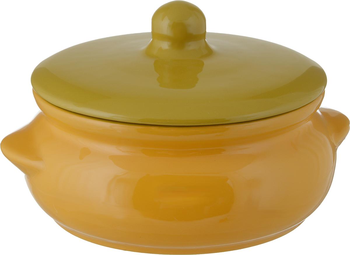 Горшок для запекания Борисовская керамика Радуга, с крышкой, цвет: желтый, горчичный, 700 мл горшок для запекания борисовская керамика радуга с крышкой цвет голубой желтый 700 мл
