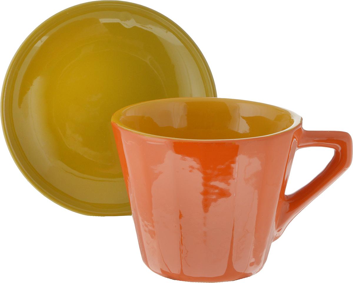 Чайная пара Борисовская керамика Ностальгия, цвет: оранжевый, горчичный, 200 мл чайная пара борисовская керамика ностальгия цвет темно фиолетовый голубой 200 мл