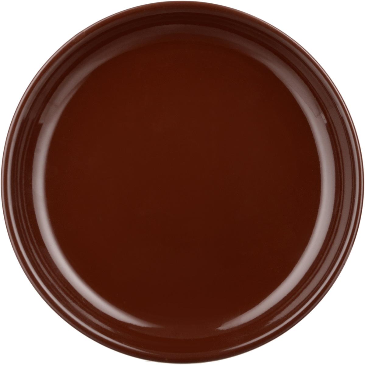 "Тарелка Борисовская керамика ""Cтандарт"", цвет: темно-коричневый, диаметр 18 см"