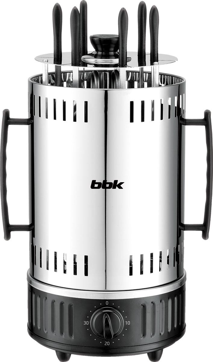 Электрошашлычница BBK BBQ603T, Black Silver