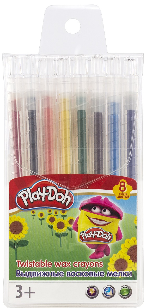 Play-Doh Набор восковых мелков выдвижные 8 цветов carioca набор пластиковых мелков plastello 12 цветов