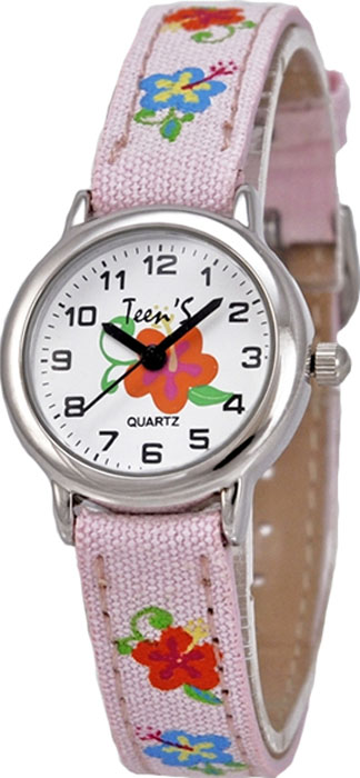 Часы наручные детские Тик-Так Незабудки, цвет: светло-розовый. 114-4 часы наручные детские тик так звезды цвет черный 114 4
