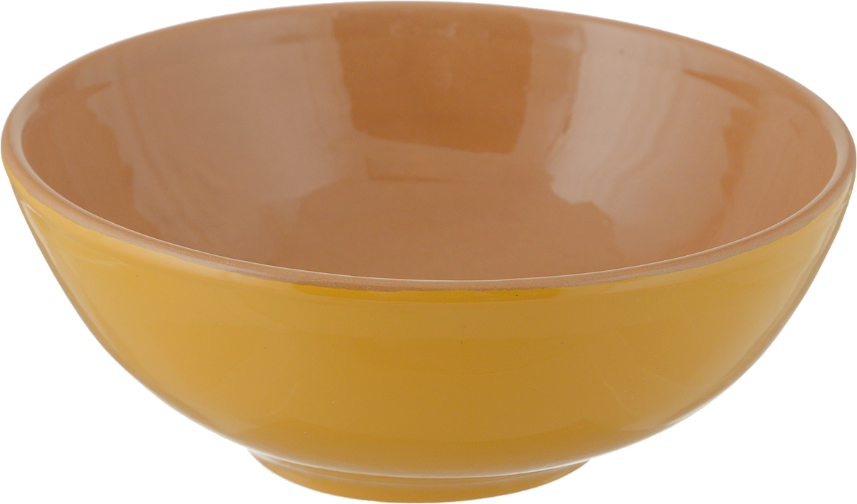 Салатник Борисовская керамика Удачный, цвет: желтый, коричневый, 450 мл салатник вятская керамика 0 8 л коричневый