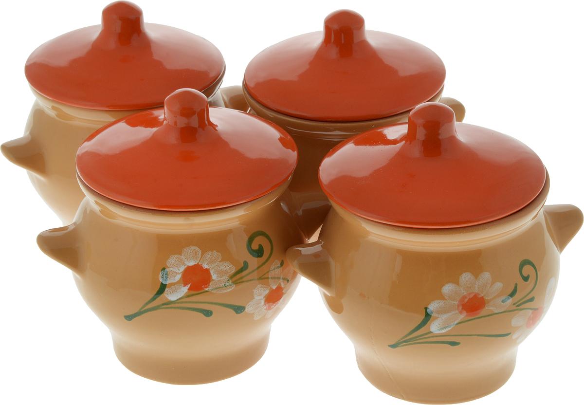 Набор горшочков для запекания Борисовская керамика Стандарт, с крышками, 700 мл, 4 шт набор горшочков для запекания борисовская керамика стандарт с крышками цвет сиреневый 500 мл 6 шт
