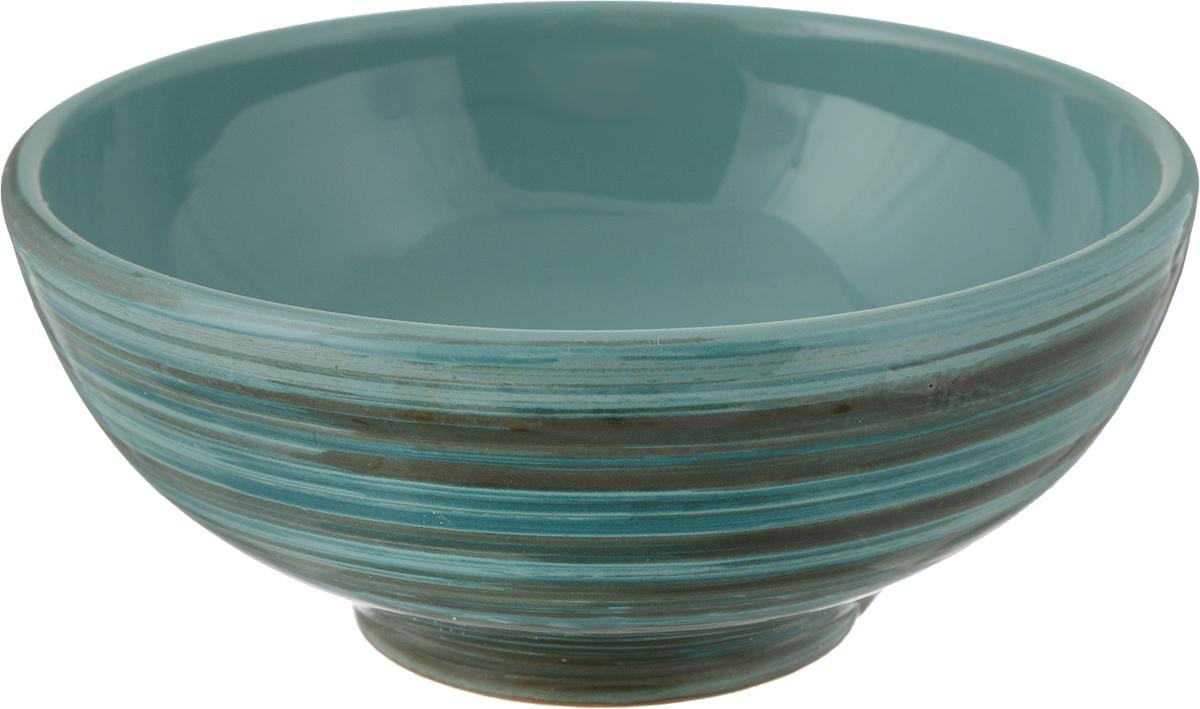 Салатник Борисовская керамика Удачный, цвет: бирюзовый, черный, 450 мл салатник домашний 8см 500мл керамика