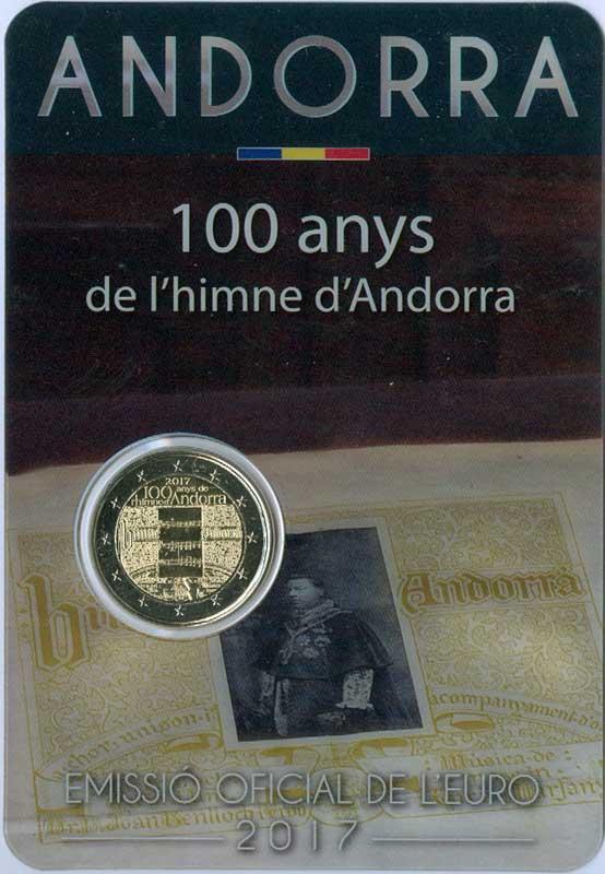 Монета номиналом 2 евро в блистере, Андорра, 100 лет гимну Андорры, 2017 год монета номиналом 2 евро 10 лет введения наличных евро германия 2012 год