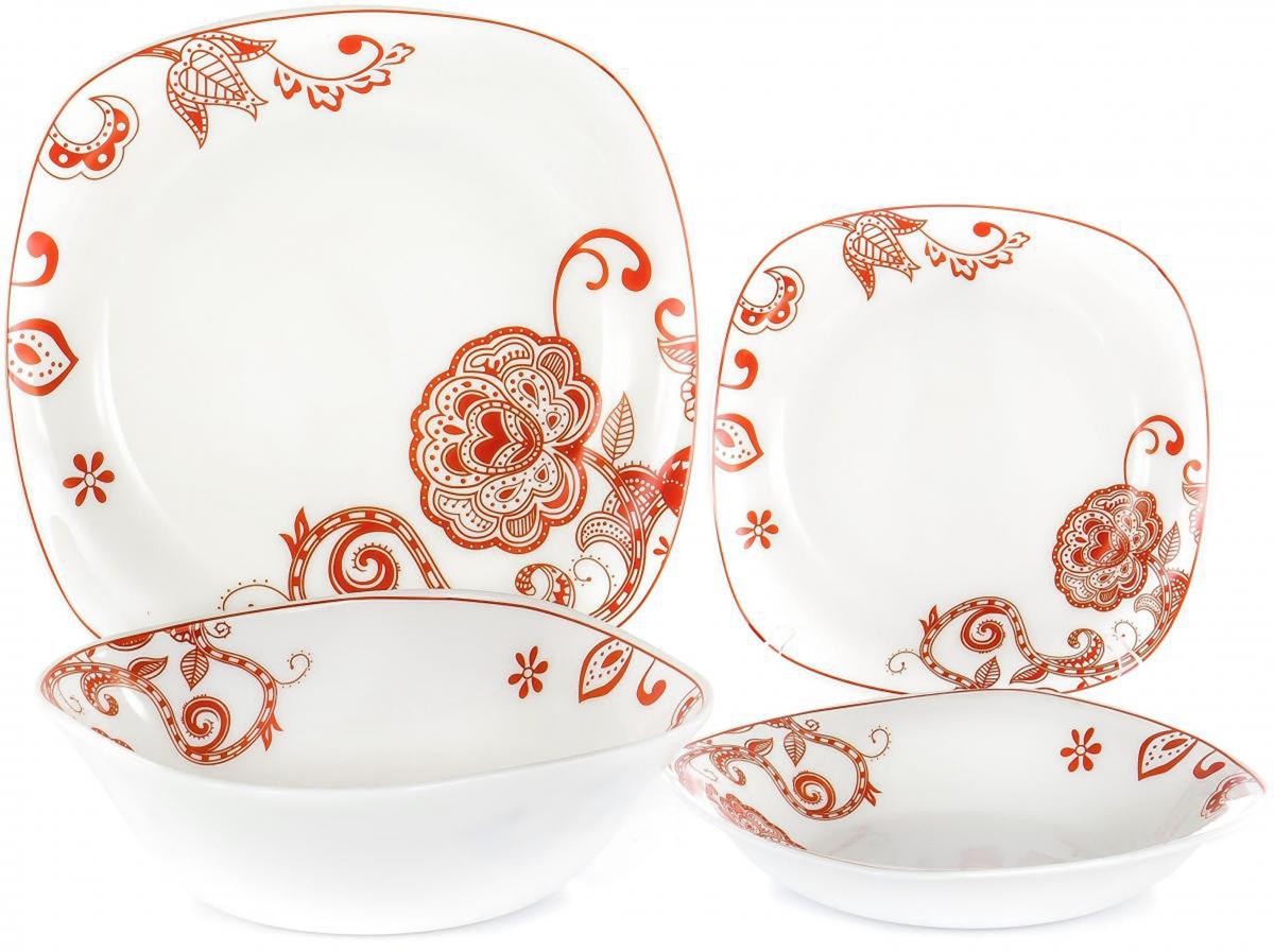 Набор столовой посуды Olaff Красные цветы, 19 предметов