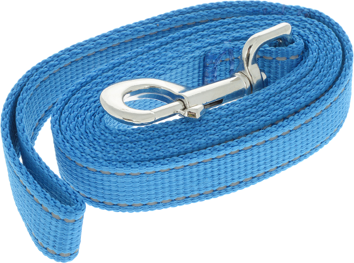 Поводок капроновый для собак Аркон, цвет: синий, ширина 2,5 см, длина 1,5 м поводок капроновый для собак аркон цвет розовый ширина 2 см длина 5 м