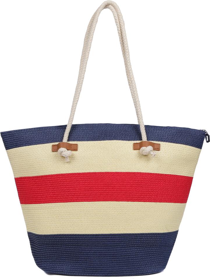 91247d80d03e Сумка пляжная женская Fabretti, цвет: молочный, синий, красный. GLB33-1/8 —  купить в интернет-магазине OZON.ru с быстрой доставкой