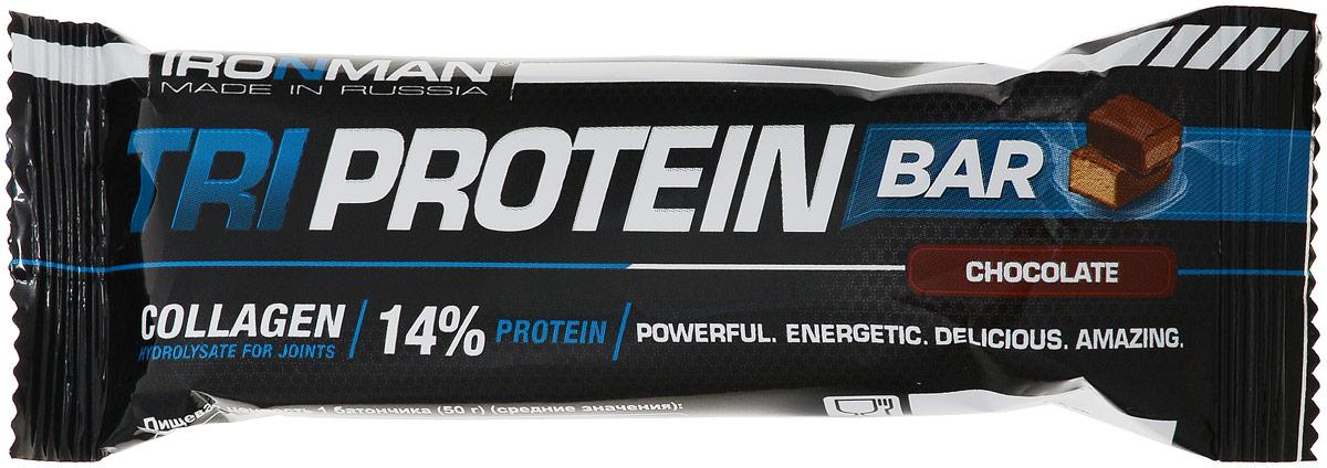 Фото - Батончик Ironman Tri Protein Bar, шоколад, темная глазурь, 50 г батончик протеиновый ironman protein bar с коллагеном карамель темная глазурь 50 г 6 шт