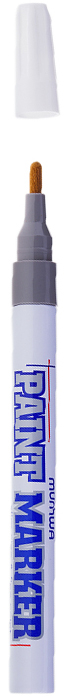 MunHwa Маркер-краска Slim цвет серебристый207865Краска великолепно пишет по любому типу поверхности: бумаге, дереву, пластику, металлу, натуральному и искусственному камню, стеклу. Маркер-краска морозоустойчива, не выгорает на солнце, может писать по горячей (до 130 градусов) или загрязненной, в том числе и маслами, поверхности. Благодаря дозированной подаче краски при помощи клапанного пишущего узла исключаются растекания, неровности линии и преждевременное пересыхание. Богатая цветовая палитра краски на нитро-основе, длительный срок годности - 5 лет.
