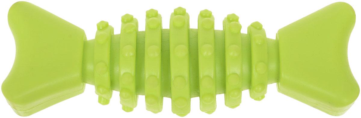 Игрушка для собак Уют Гантель-косточка с шипами, цвет: салатовый, 12 см игрушка для собак уют кеды цвет салатовый 10 x 5 x 4 см
