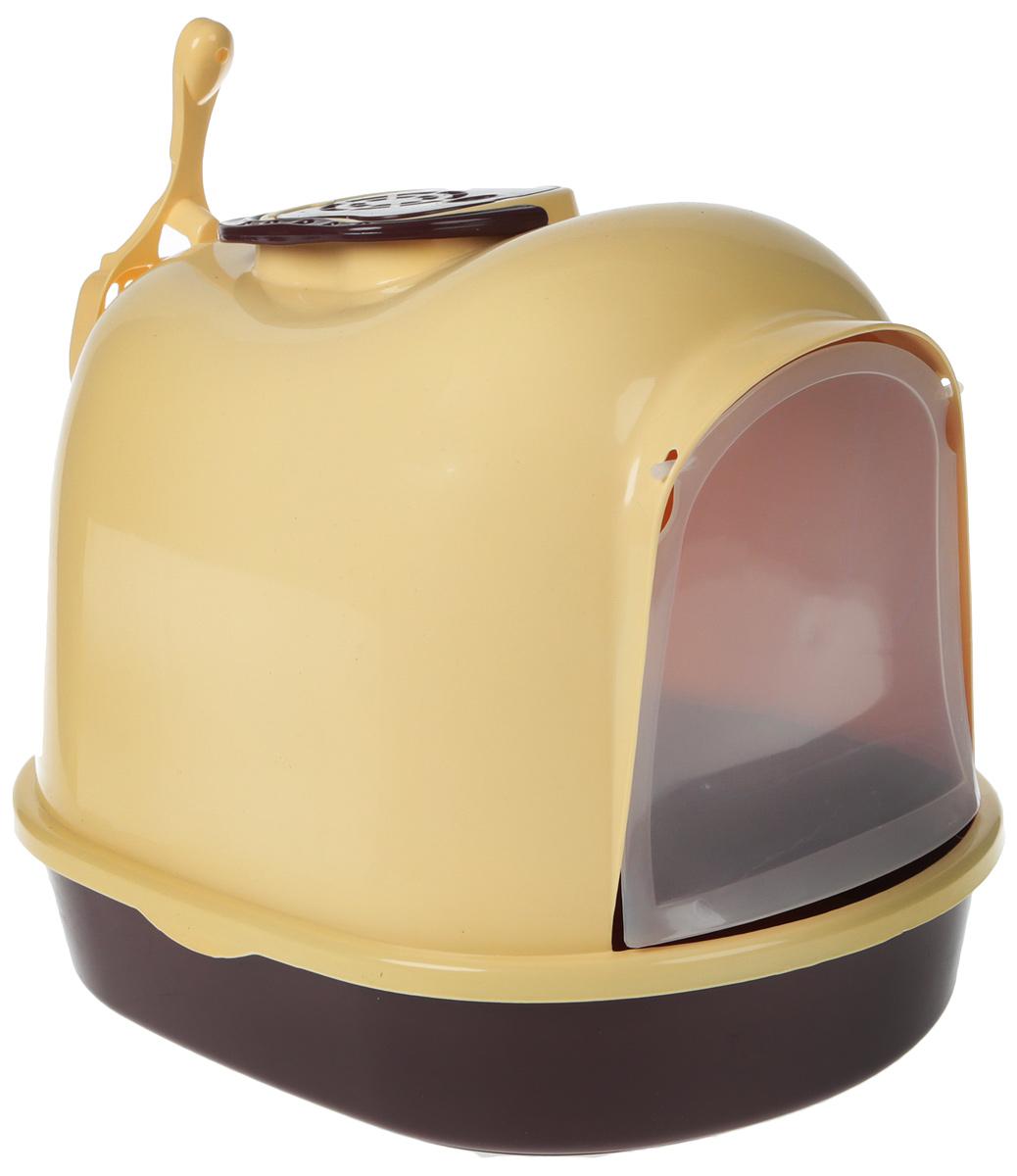 Туалет-бокс для кошек №1, цвет: желтый, коричневый, 49 х 37,5 х 39 см туалет для кошек curver pet life закрытый цвет кремово коричневый 51 х 39 х 40 см