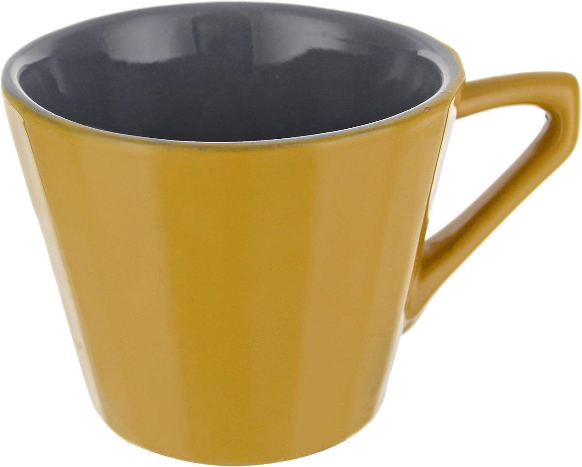 Чашка чайная Борисовская керамика Ностальгия, цвет: горчичный, серый, 200 мл чайная пара борисовская керамика ностальгия цвет темно фиолетовый голубой 200 мл