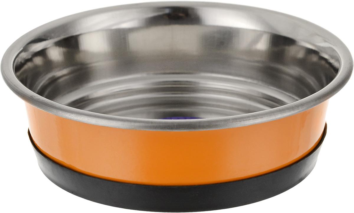 """Миска для животных """"Уют"""", утяжеленная, цвет: оранжевый, 300 мл"""